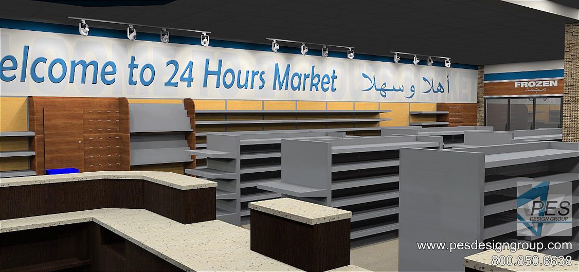 A look at the general merchandise area in the new C-store concept design for the 24 Hours Market chain in Manama, Bahrain.
