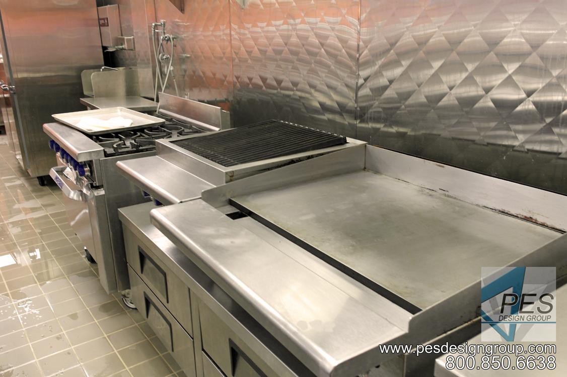 A griddle, charbroiler and range in the Cafe Mirabilis food court at Manatee Technical College in Bradenton Florida.
