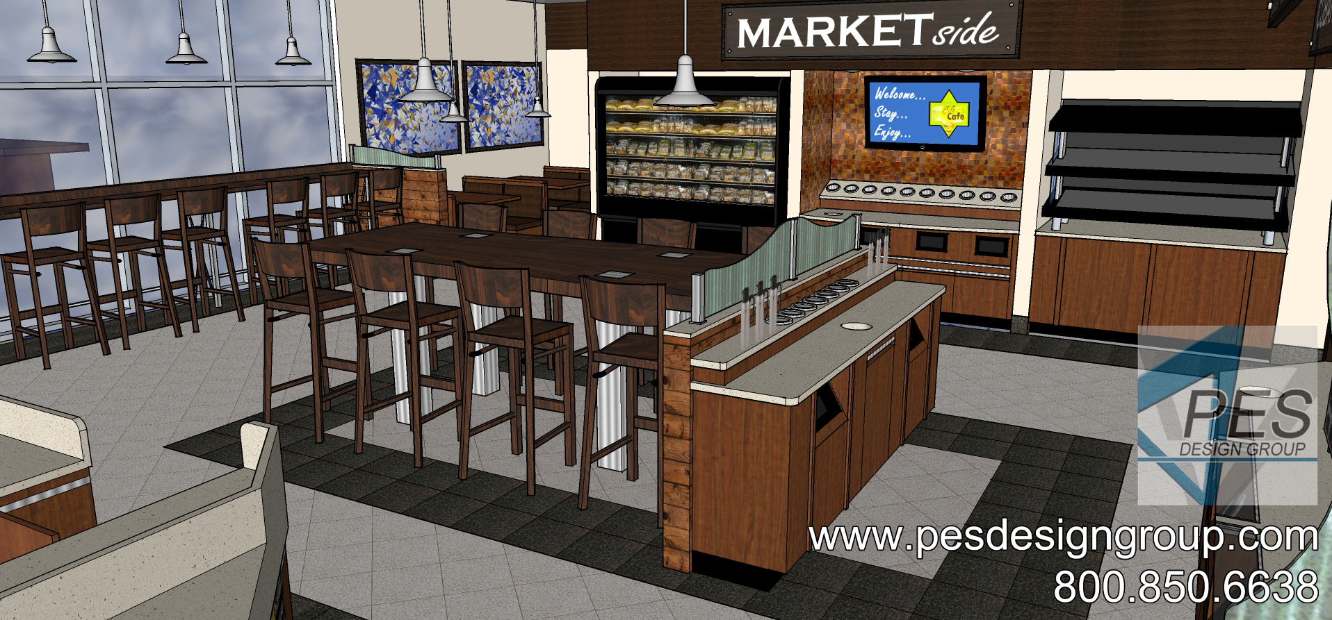 A concept rendering of the foodservice area at a Shell gas station and c-store in Coconut Creek, Florida.