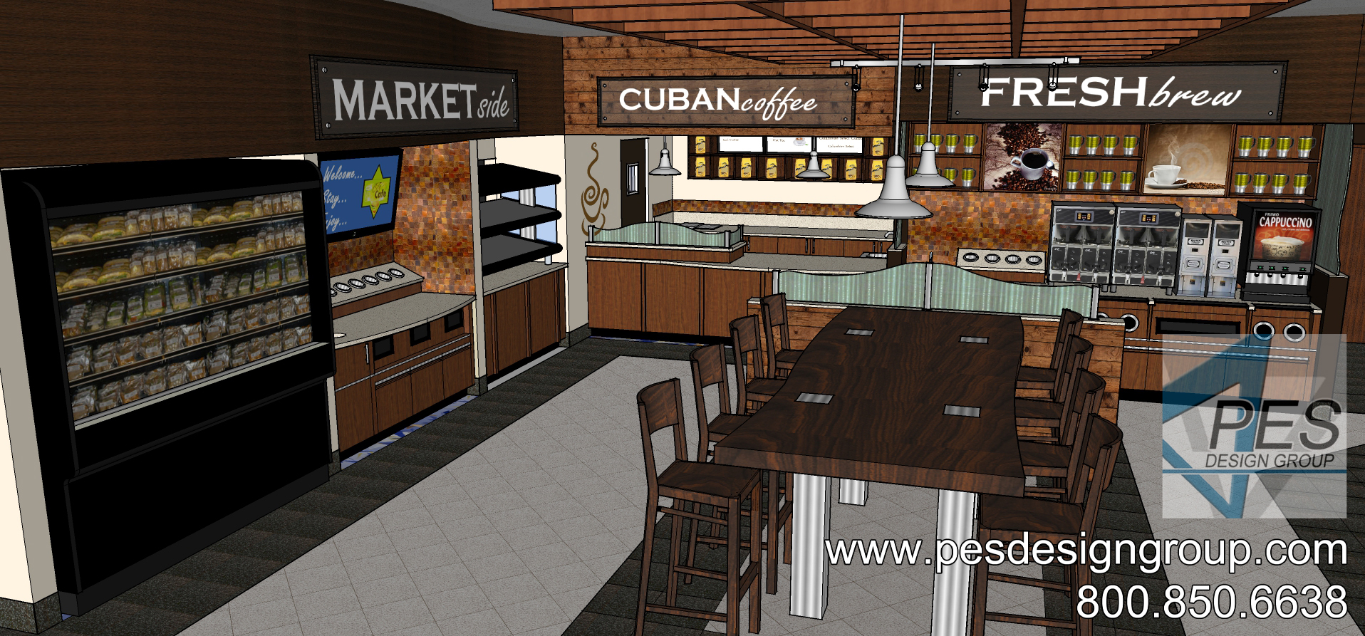 A concept rendering of the foodservice area, Cuban coffee and Fresh Brew counters at a Shell gas station and c-store in Coconut Creek, Florida.