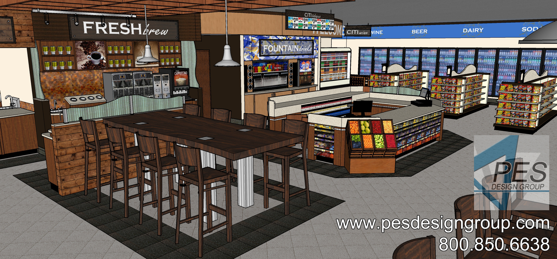 A concept rendering of the community table, cashier counter and fountain beverage area at a Shell gas station and c-store in Coconut Creek, Florida.