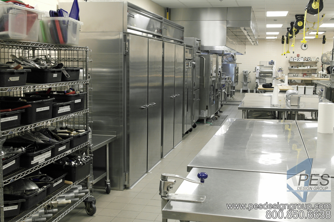 A view of the prep area in the Suncoast Technical College culinary teaching kitchen in Sarasota Florida.