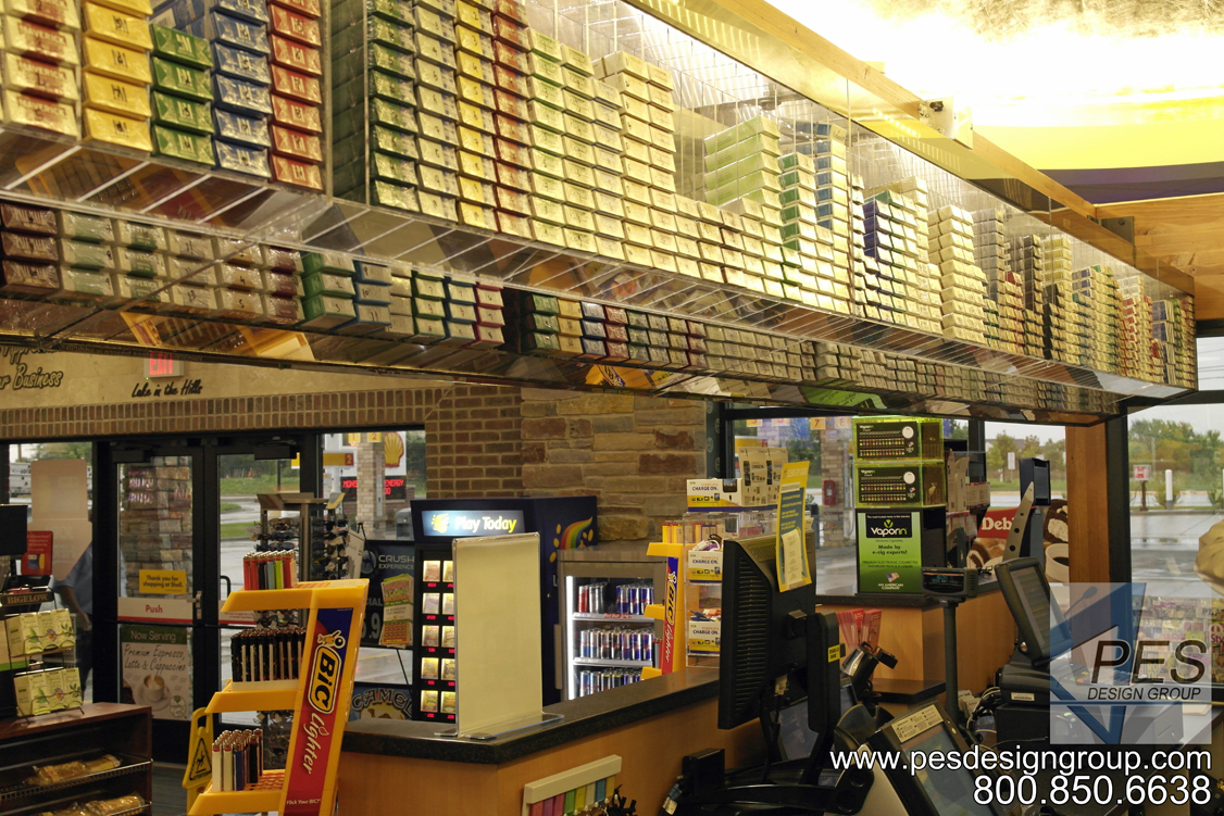 A look at the overhead cigarette display above the cashier counter at Grove Mart Shell in Lake in the Hills, IL.