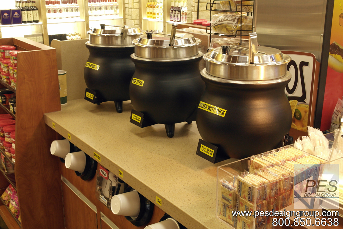 A line up of soup kettles in the self-serve food service area at Grove Mart Shell in Lake in the Hills, IL.