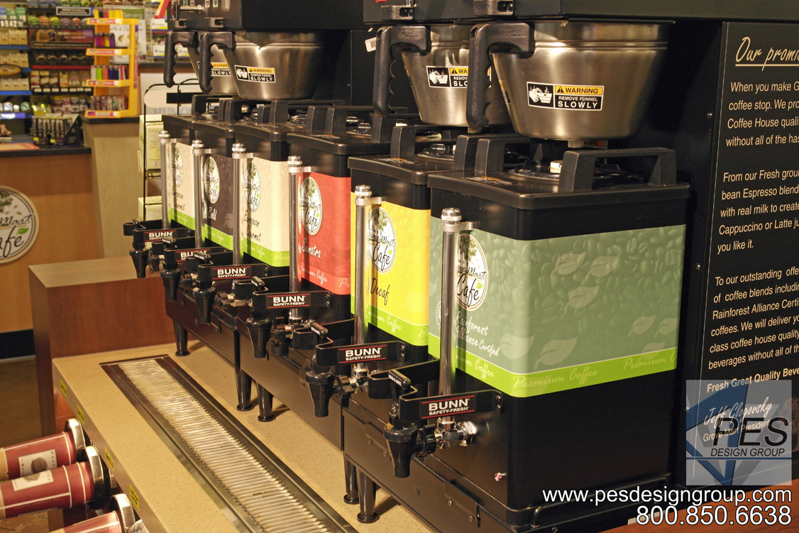 A line up of Bunn coffee brewers on the hot beverage island counter at Grove Mart Shell in Lake in the Hills, IL.