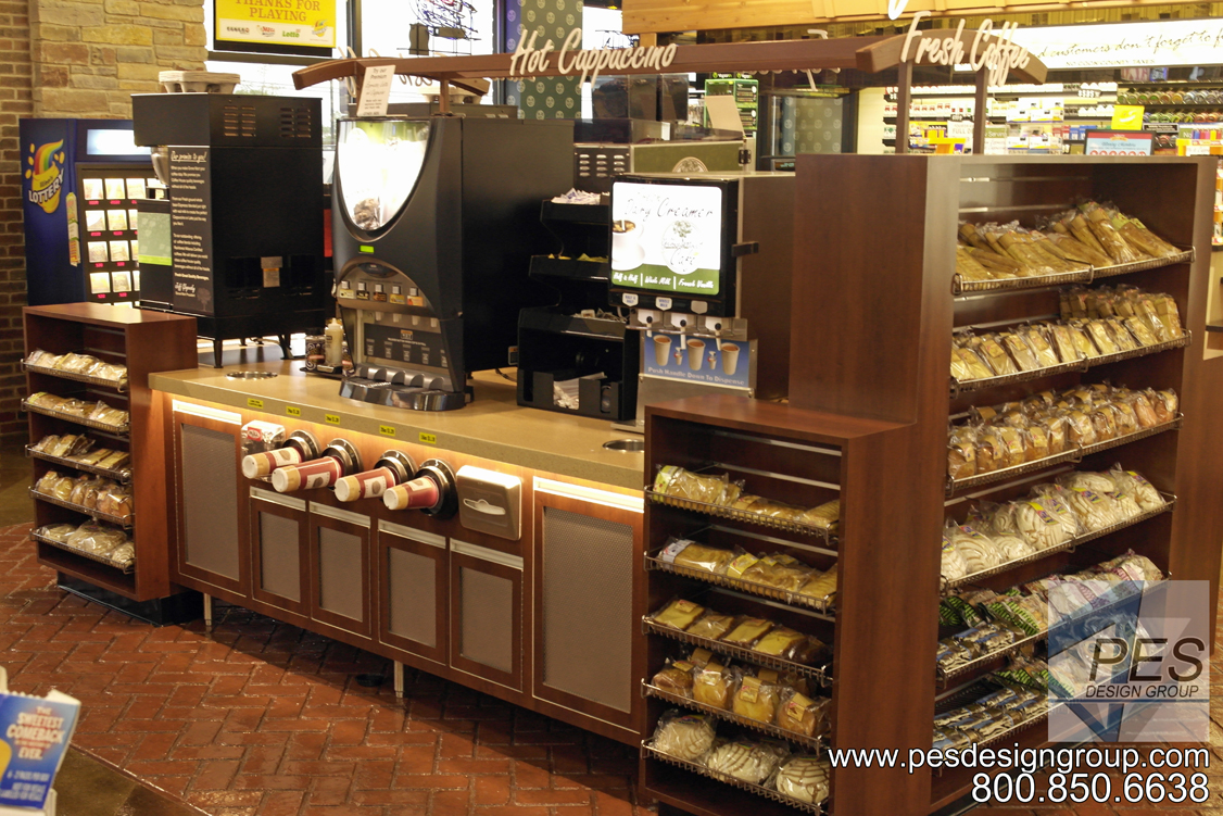 A look at custom coffee and hot beverage island counter at Grove Mart Shell in Lake in the Hills, IL.