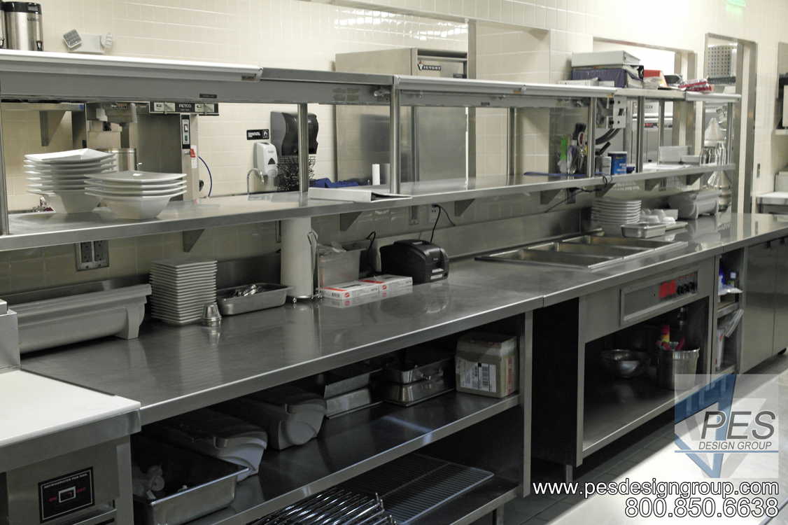 A view of the chef's expediting counter designed for the open kitchen concept of Bistro 502 in Sarasota Florida.