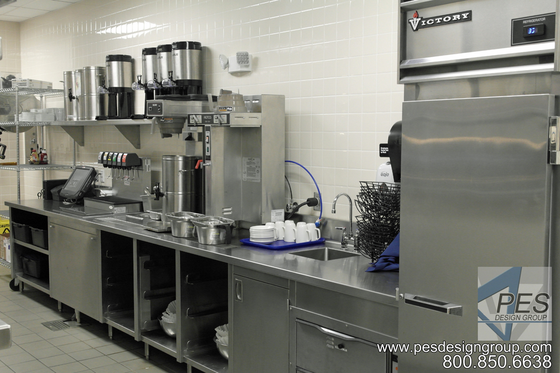 A view of the wait station and server counter designed for the open kitchen concept of Bistro 502 in Sarasota Florida.