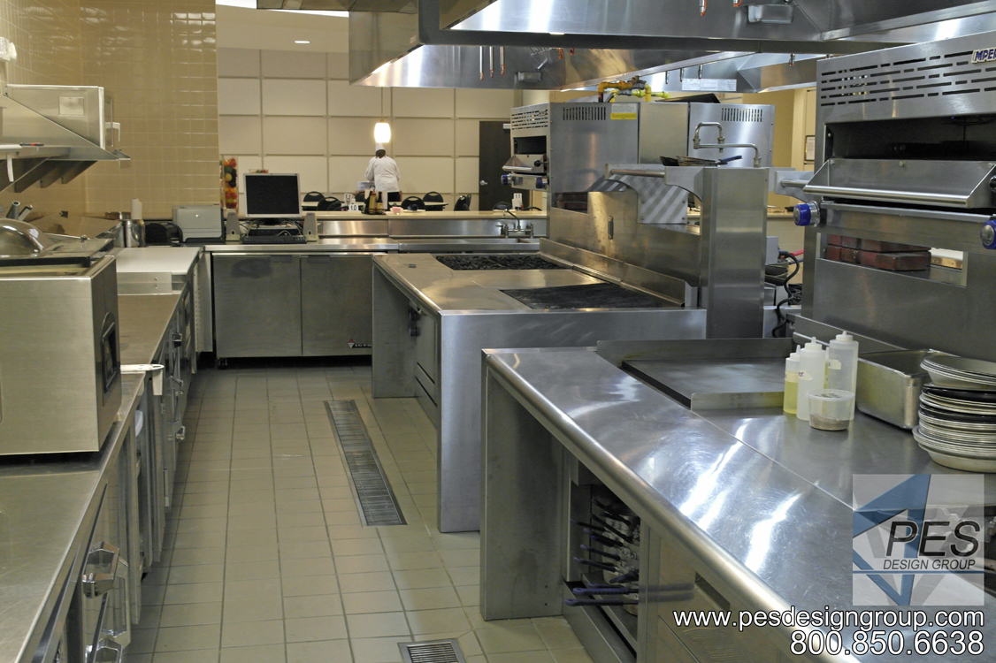 Commerical island cooking suites designed for the open kitchen concept of Bistro 502 in Sarasota Florida.