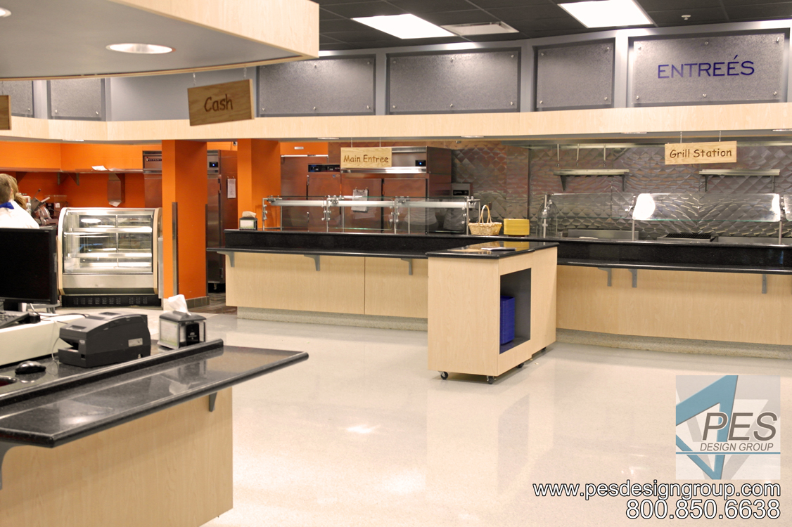 The grill and main entree station in the Cafe Mirabilis food court at Manatee Technical College in Bradenton Florida.
