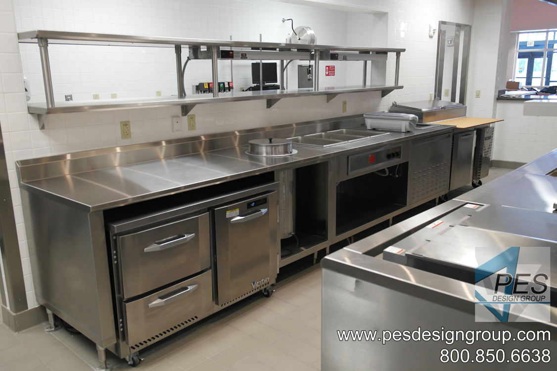 A view of the chef's expediting counter designed for Suncoast Technical College's culinary teaching kitchen in North Port, Florida.