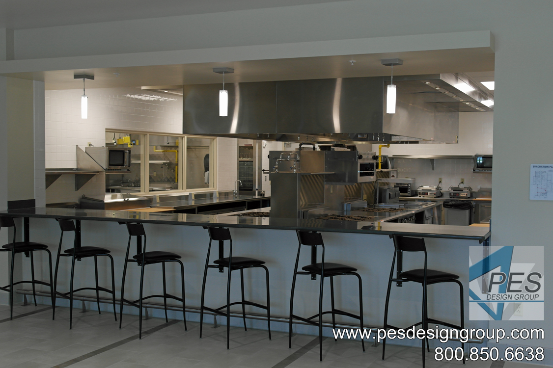 A view of the Chef's table and open kitchen of the bistro at Suncoast Technical College's culinary teaching kitchen in North Port, Florida.