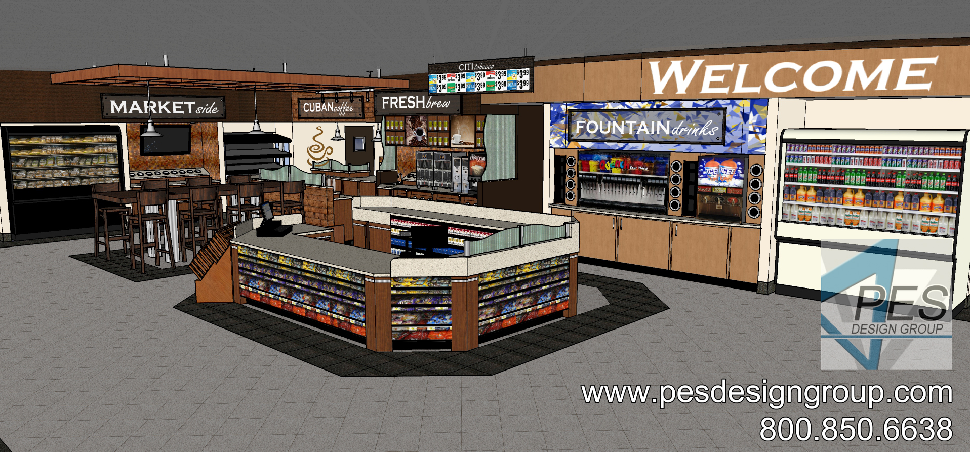 A concept rendering of the remodeled c-store at a Shell gas station and c-store in Coconut Creek, Florida.