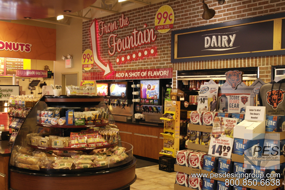 A look at the fountain drink counter and grab-n-go area of the award-winning design of Gas N Wash C-store in Mokena, Illinois.