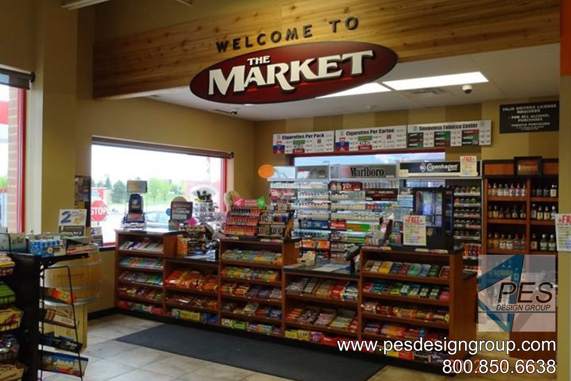 A look at the cashier counter of the award-winning design of Gas N Wash C-store in Mokena, Illinois.