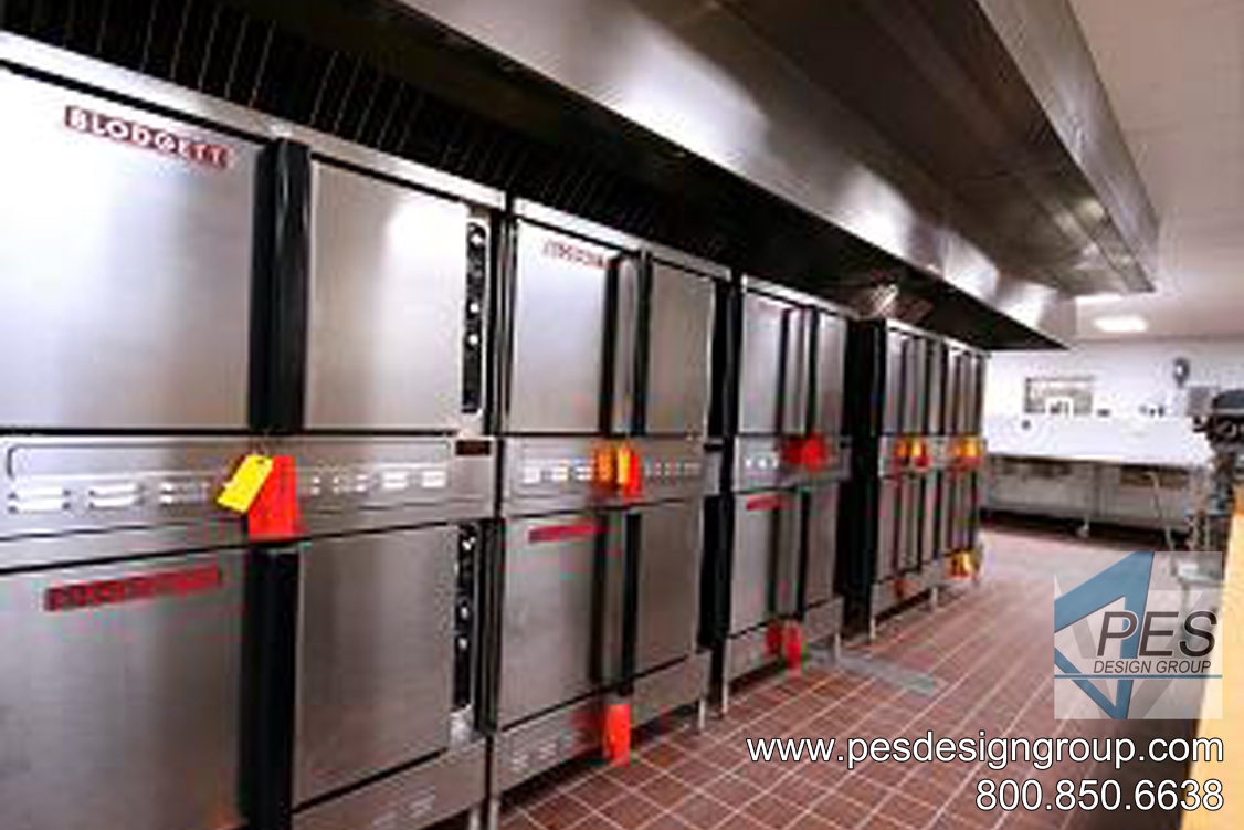A bank of convection ovens in the commercial kitchen of Riverview High School in Sarasota Florida.