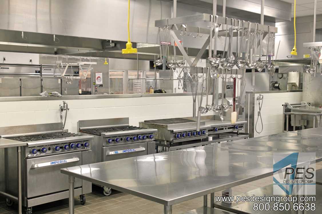 Cookline and worktables in Manatee Technical College's culinary teaching kitchen in Bradenton Florida.