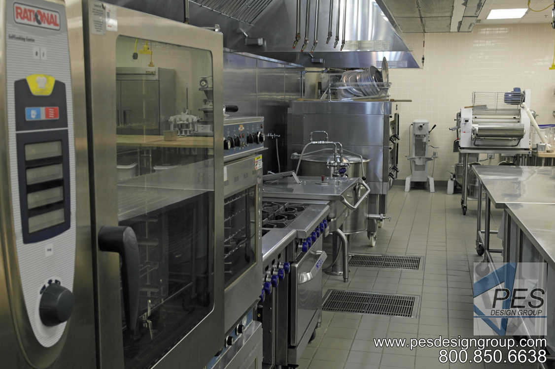 Featuring a Rational self-cooking oven on the banquet cookline in the Suncoast Technical College culinary banquet kitchen in Sarasota Florida.