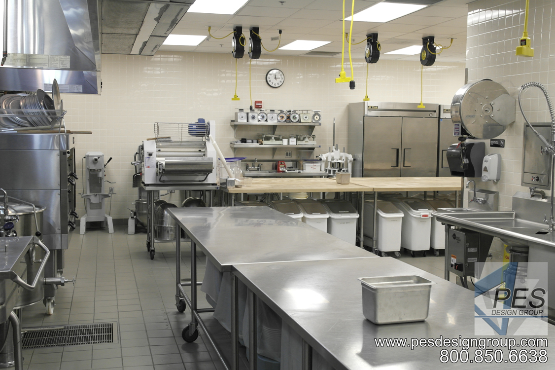 A view of the bakery and prep area in the Suncoast Technical College culinary banquet kitchen in Sarasota Florida.