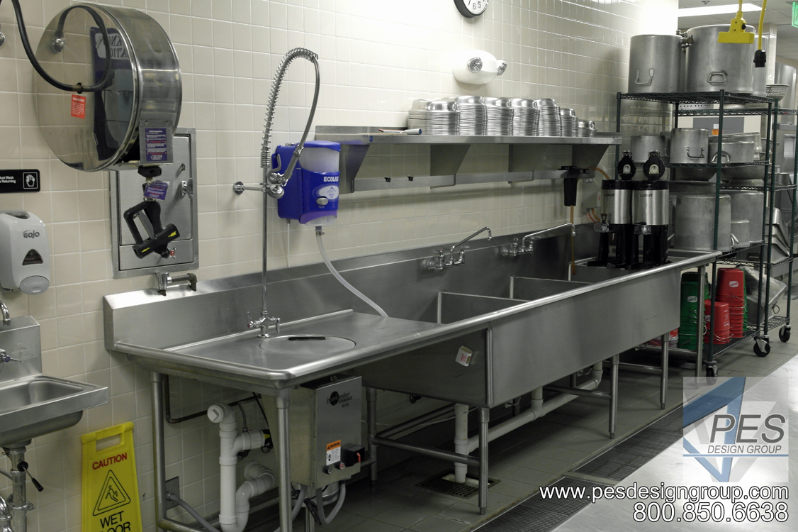 The banquet scullery area in the Suncoast Technical College culinary teaching kitchen in Sarasota Florida.