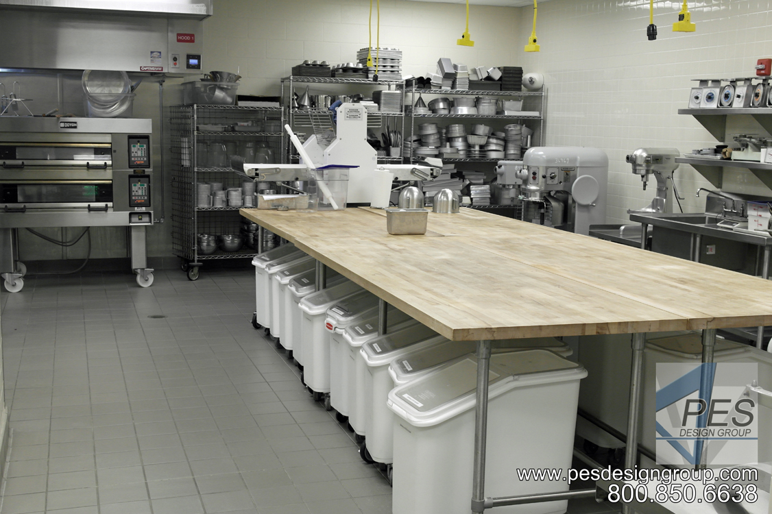 The baking teaching lab in the Suncoast Technical College culinary teaching kitchen in Sarasota Florida.