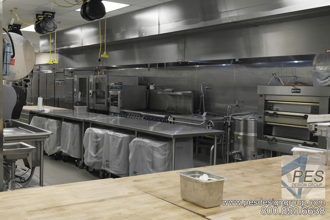 A view of the banquet cookline and bakery area in the Suncoast Technical College culinary teaching kitchen in Sarasota Florida.