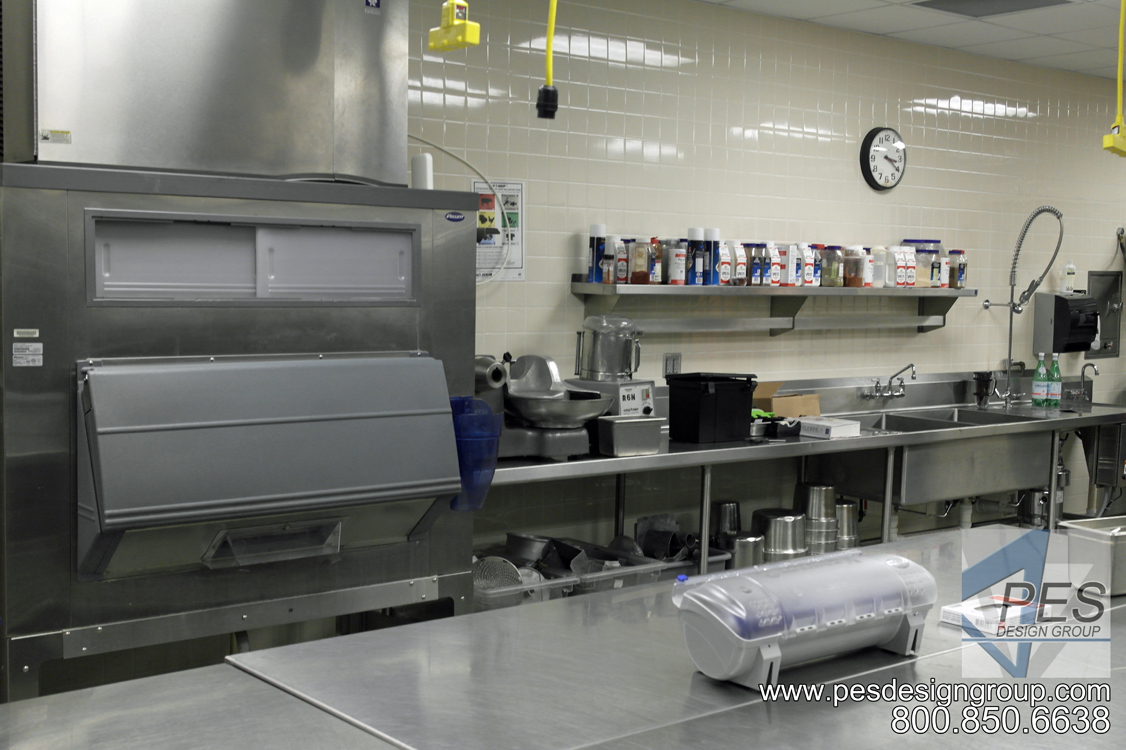 A view of the ice maker and prep area in the Suncoast Technical College culinary teaching kitchen in Sarasota Florida.