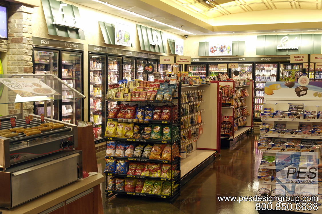 A look at the walk-in cooler and general merchandise area at Grove Mart Shell in Lake in the Hills, IL.