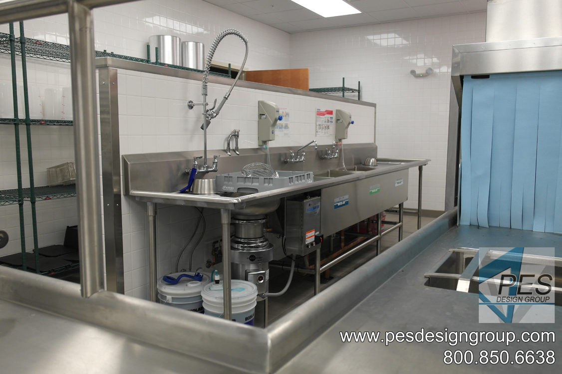 A look at the three compartment sink and disposer at Suncoast Technical College's culinary teaching kitchen in North Port, Florida.