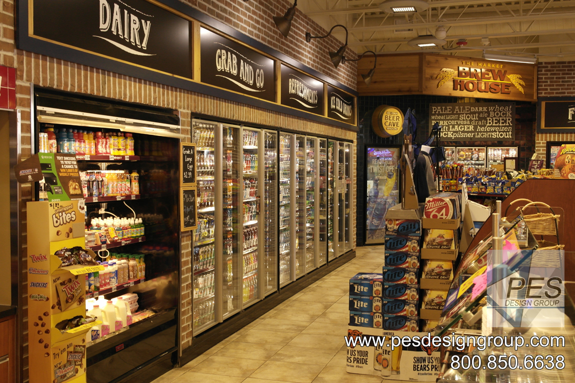 A chain c-store design featuring french-door style walk-in cooler doors and an award-winning beer cave.