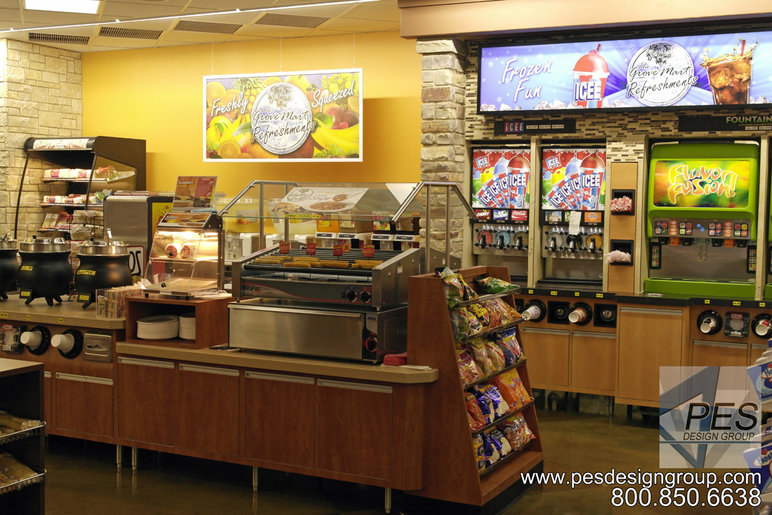 C-store design idea for independent store owners featuring foodservice and fountain beverage drink counters.