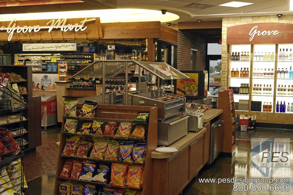C-store design idea for independent store owners featuring foodservice counter, liquor display and coffee center.
